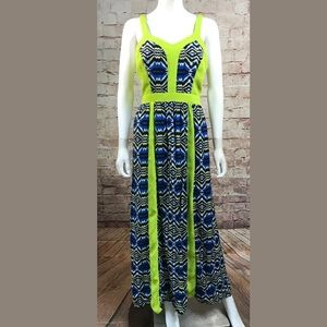 Flying Tomato Maxi Dress Medium Navy Neon green